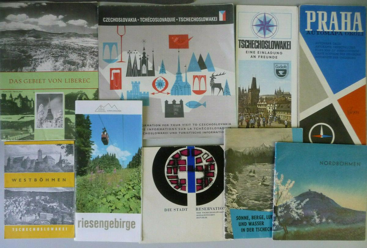 Konvolut Reiseprospekte Landkarte Tschechsoslowakei Prag Böhmen ca. 1960