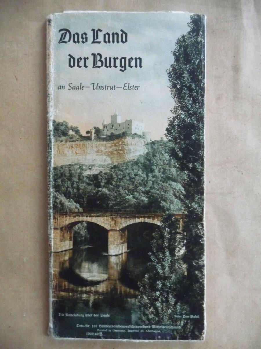 Reiseprospekt Saale-Unstrut-Land / Land der Burgen mit Panoramakarte ca. 1930