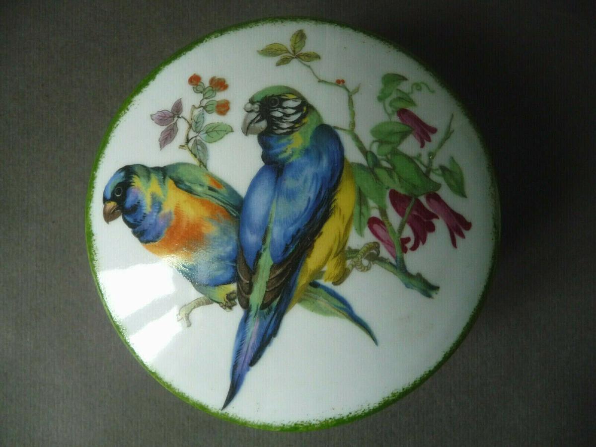 Deckeldose rund Papageien Blumen / Schwarzenhammer Porzellan