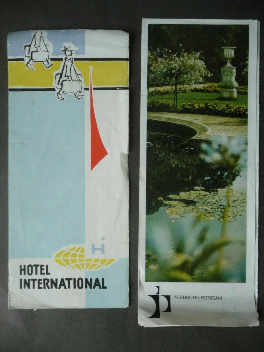 2 x Original-Reklame Hotelprospekt Interhotel Magdeburg / Potsdam