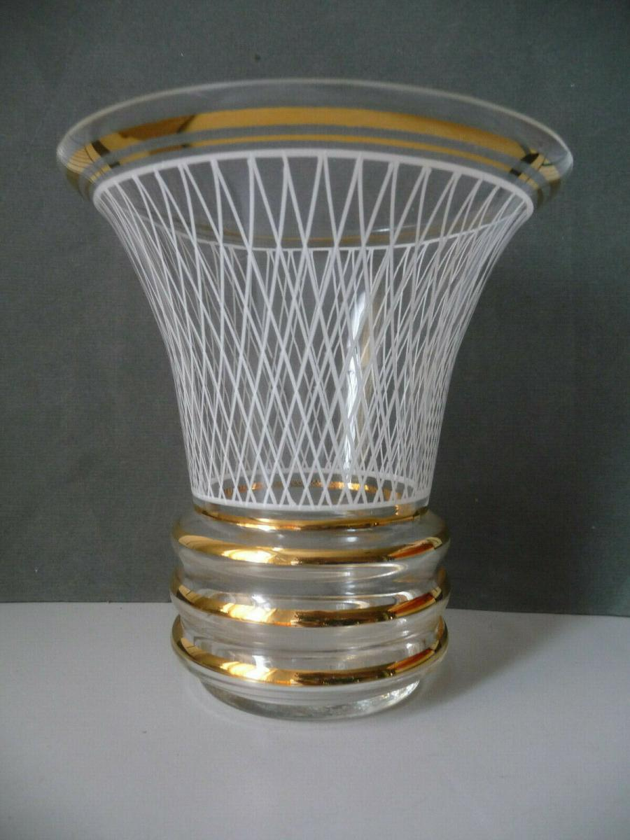 Elegante Vase Blumenvase DDR-Design Vintage Goldrand 15cm hoch