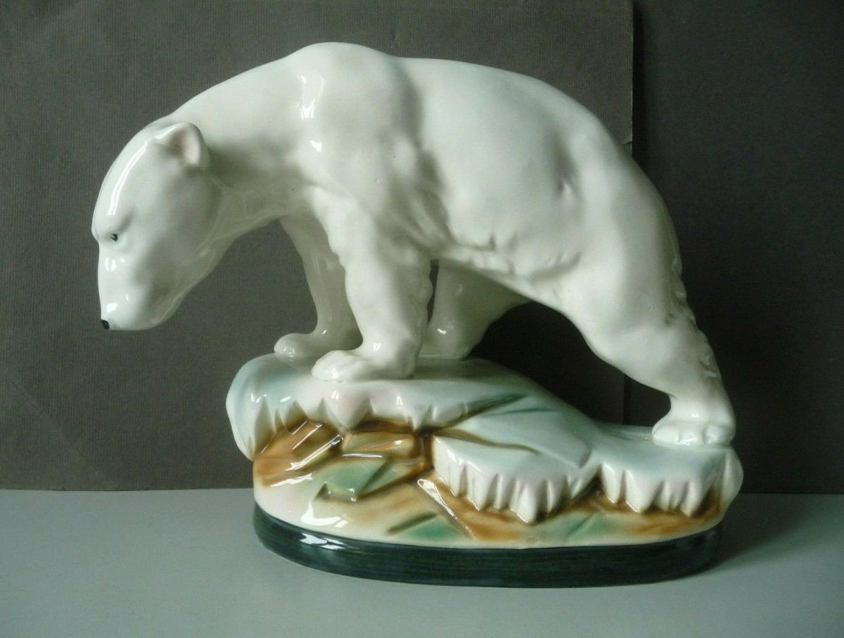 Große Keramikfigur Eisbär auf Scholle