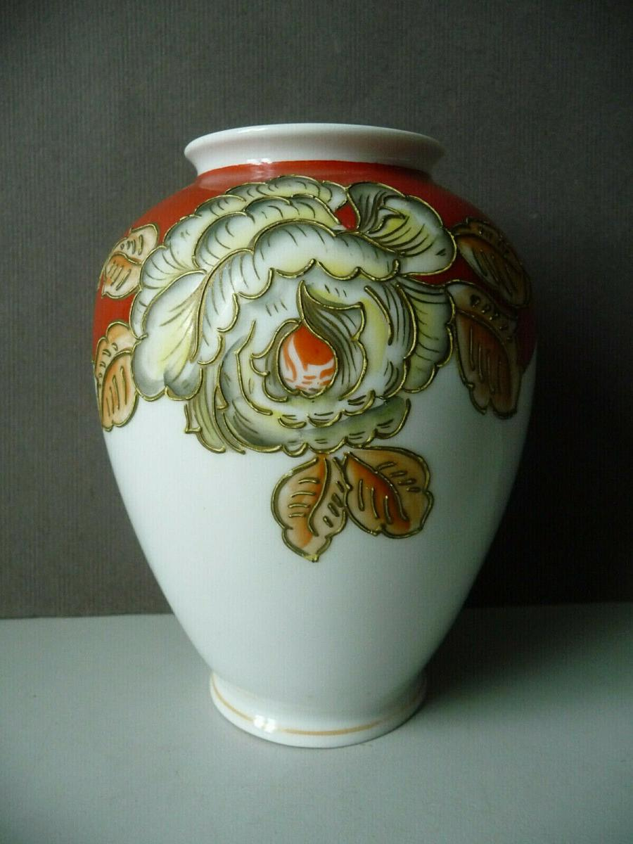 Kleine Vase bauchig Blumendekor weiß-rot / Schaubach-Kunst Porzellan