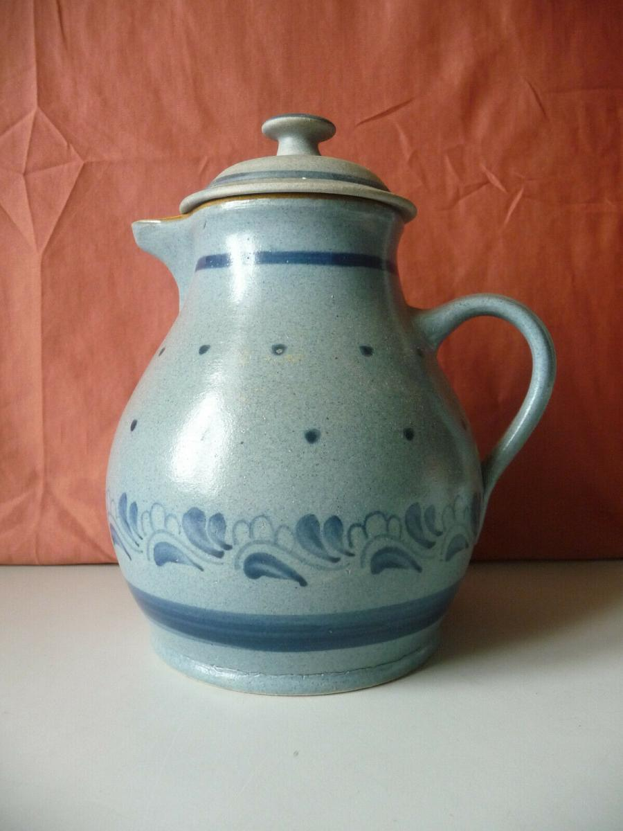 Kanne blau gepunktet Ton Keramik