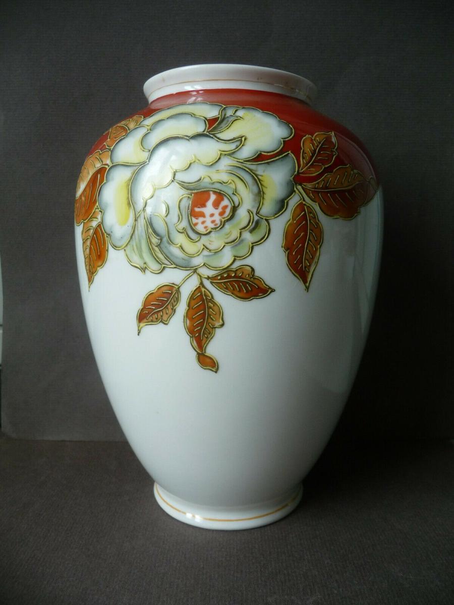 Schöne Vase bauchig Blumendekor weiß-rot / Schaubach-Kunst Porzellan