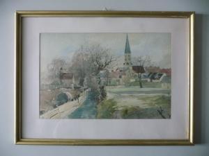 Aquarell Landschaft Kirche Kirchturm Dorf und Bach