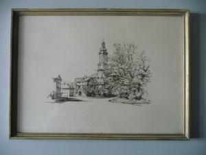 Druckgraphik Ansicht Weimar Stadtschloss 1957
