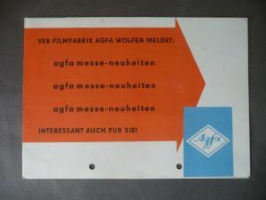 Reklameprospekt Filmfabrik Agfa Wolfen DDR Messe-Neuheiten 1960