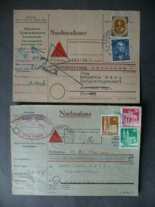 2 x Postbeleg Nachnahme-Scheine Fürth Eschenbach Bayern 1949 / 1953
