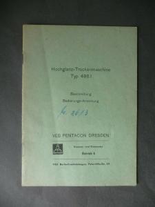 Bedienungsanleitung Hochglanz-Trockenmaschine Typ 498.1 / VEB Pentacon