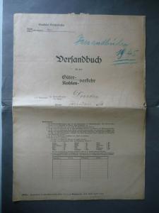 Versandbuch Güterverkehr Heft Bf Pirk Vogtland Januar 1945