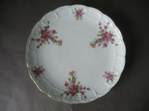 Zierteller Speiseteller mit Blumenmalerei Rosendekor / Krautheim Selb Porzellan