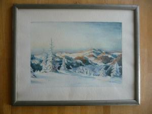 Aquarell Winterlandschaft Mittelgebirge H. Kleinert