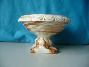 Schale auf Fuß rund / Keramik mit Marmoroptik