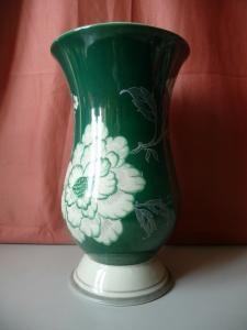 Große Vase mit Blumendekor grün-grau / Schaubach-Kunst Porzellan