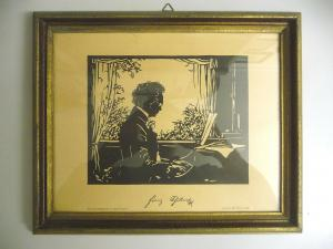 Kunstdruck Scherenschnitt Franz Schubert am Klavier n.Leopols Wächtler gerahmt