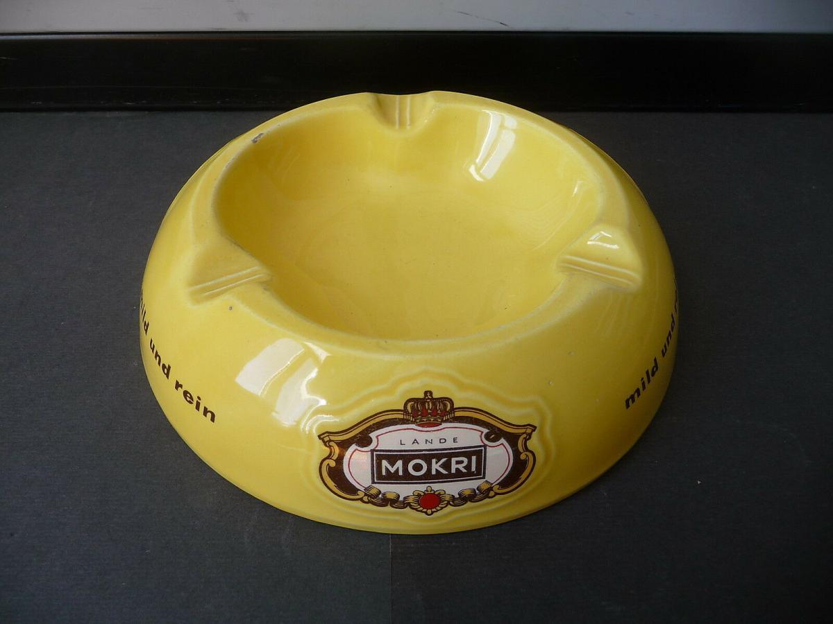 Großer Aschenbecher Reklame Mokri Zigaretten Fa. Lande / Wunstorf Keramik 0