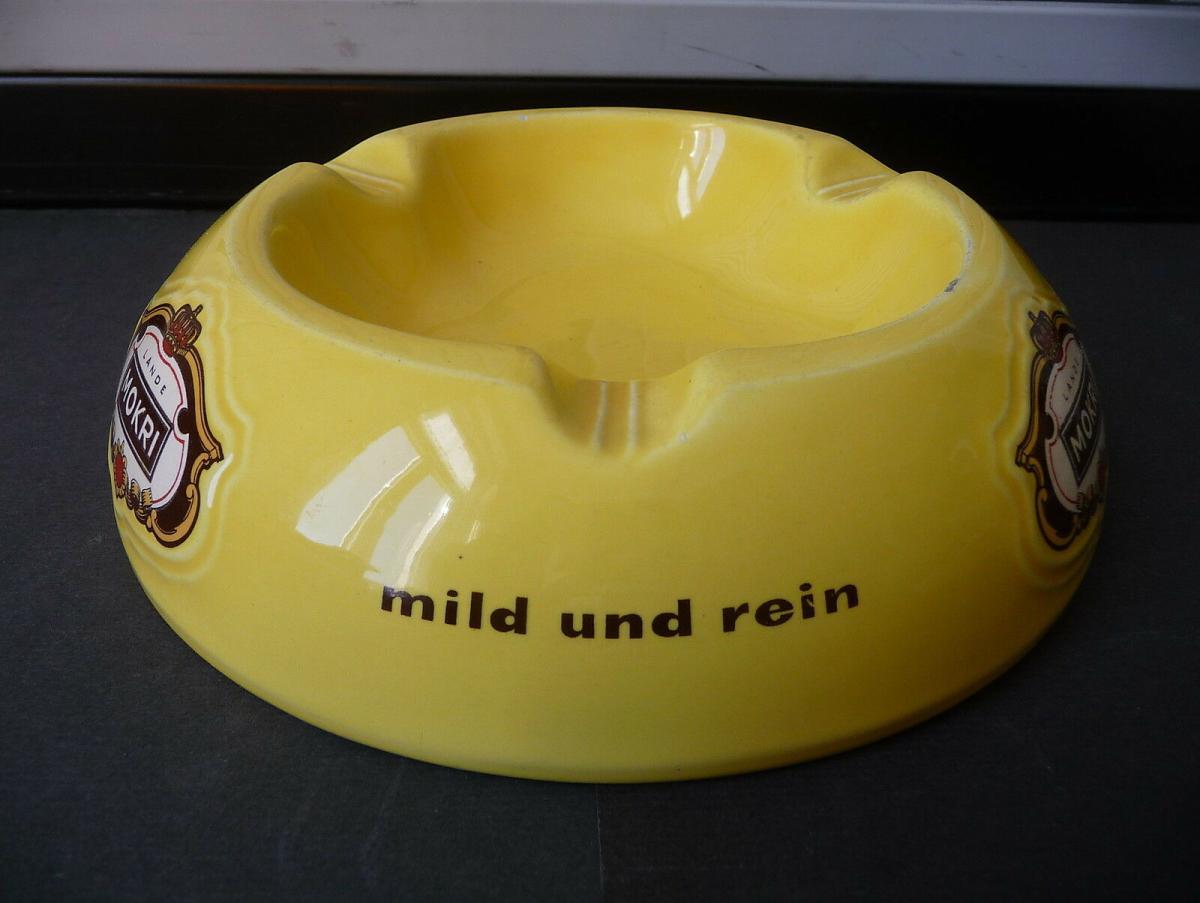 Großer Aschenbecher Reklame Mokri Zigaretten Fa. Lande / Wunstorf Keramik 1