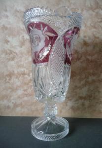 Tolle große Vase Ziervase mit Schliffdekor Blumen 34 cm