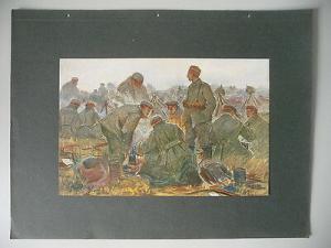 Kunstdruck Albert Gartmann Beim Abkochen Soldaten 1915