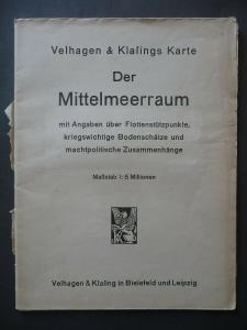 Landkarte Mittelmeerraum Flottenstützpunkte / Velhagen & Klasing 1941