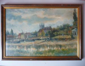 Aquarell Zeichnung Kirche am Ufer