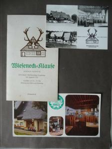 Speisekarte + 2 x AK Postkarte Wieseneck-Klause Oberbärenburg Erzgebirge 1980