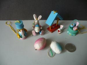 4 kleine Holzfiguren für den Osterstrauch Osterdeko