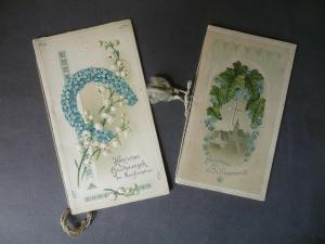 2 x Glückwunschkarte Billet Konfirmation Prägekarten Farblithos ca. 1900