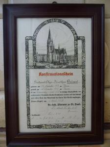 Konfirmationsschein / Plauen Pauluskirche 1928 gerahmt