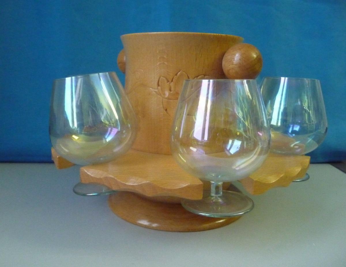 6 Weingläser in Holzständer mit Flaschenhalter Design Kult 1960er DDR 2