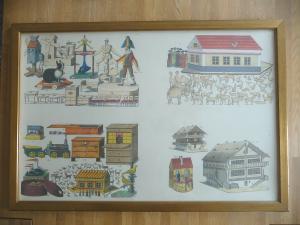 Probedruck Papierbogen mit Katalog-Abbildungen Spielzeug Erzgebirge gerahmt
