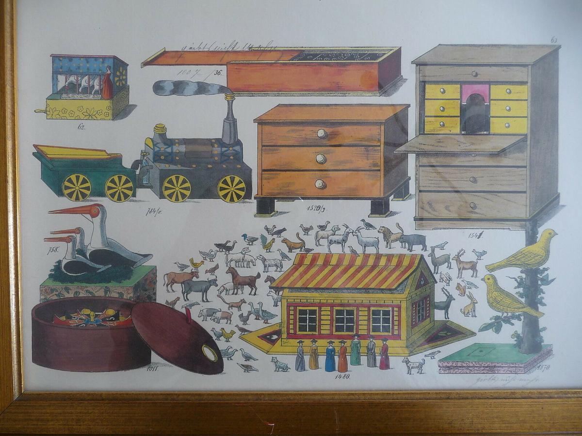 Probedruck Papierbogen mit Katalog-Abbildungen Spielzeug Erzgebirge gerahmt 1