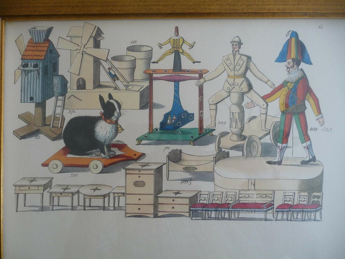 Probedruck Papierbogen mit Katalog-Abbildungen Spielzeug Erzgebirge gerahmt 2