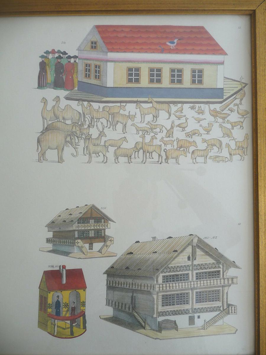 Probedruck Papierbogen mit Katalog-Abbildungen Spielzeug Erzgebirge gerahmt 3
