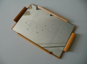 Holztablett mit Spiegel 1950er Jahre DDR Design / PGH Spiegel-Glas Görlitz