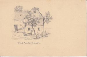 Orig. Postkarte mit Handzeichnung Gutenfürst Vogtland Bauernhof