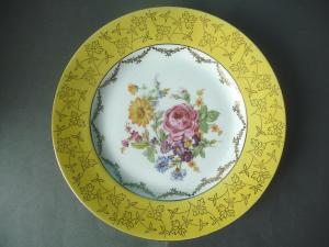 Zierteller mit gelbem Rand Blumendekor / Pirkenhammer Porzellan