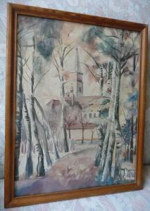 Aquarell Bild Kirche mit Allee / F. Wick 1930
