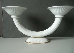 Schöner Kerzenhalter Kerzenständer zweiarmig Art Déco/ Metzler Ortloff Porzellan