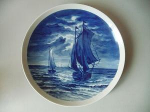 Zierteller Segelschiff Kobaltblau / Wallendorf Porzellan