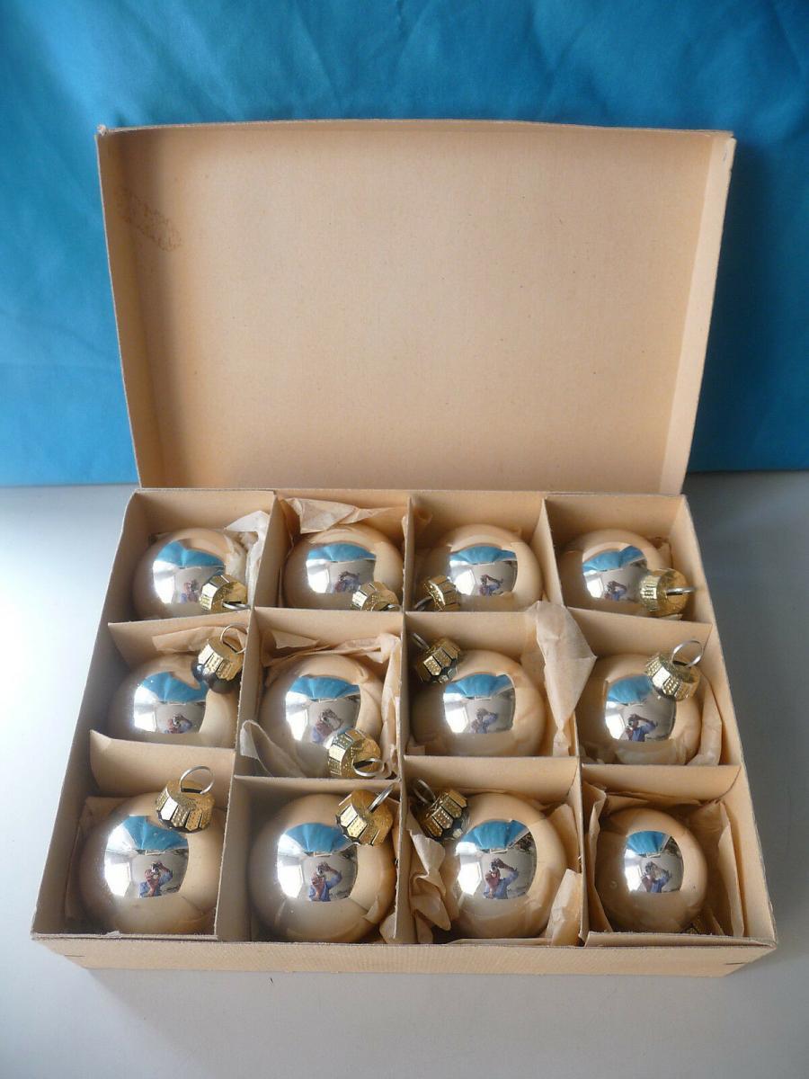 12 Christbaumkugeln silberfarben klar/ Weihnachtsbaum Christbaumschmuck Lauscha? 0