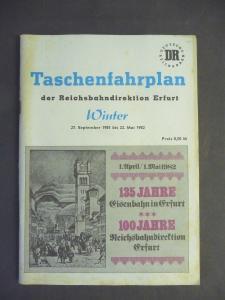 Taschenfahrplan DR Reichsbahn-Direktion Erfurt 1981/82