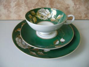 Sammeltasse Sammelgedeck Rose grün-gold / Wallendorf Porzellan