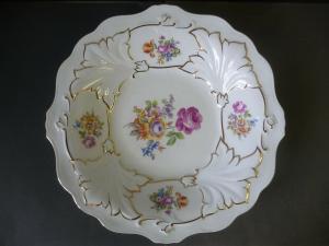 Großer Zierteller Blumenmalerei / Weimar Porzellan Modell Jutta