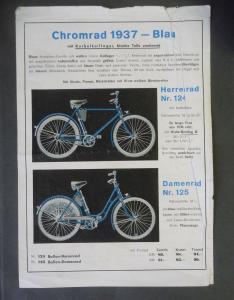 Reklameblatt Artikelblatt Preisliste Fahrad Chromrad Herrenrad Damenrad 1937