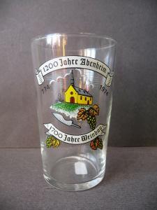 Kleines Glas Andenken-Glas 1200 Jahre Abenheim b. Worms Weinbau