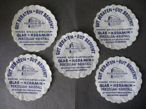 5 Untersetzer aus Papier Reklame Konsum Warenhaus Plauen 12 cm