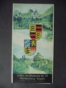 Shell Straßenkarte Nr. 19 Württemberg Bayern ca. 1935