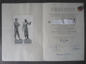 Urkunde und Abzeichen Nationales Aufbauwerk NAW Werdau 1959